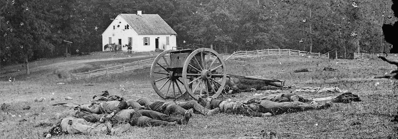 This is an image depicting casualties on the Antietam battlefield.