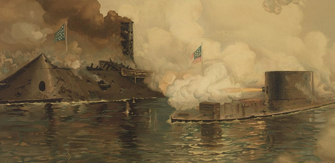 this painting depicts the hours-long engagement between the USS Monitor and the CSS Virginia at the battle of Hampton Roads.
