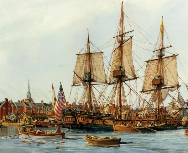 Painting of tall ship with row boats in the foreground and brick buildings in the background