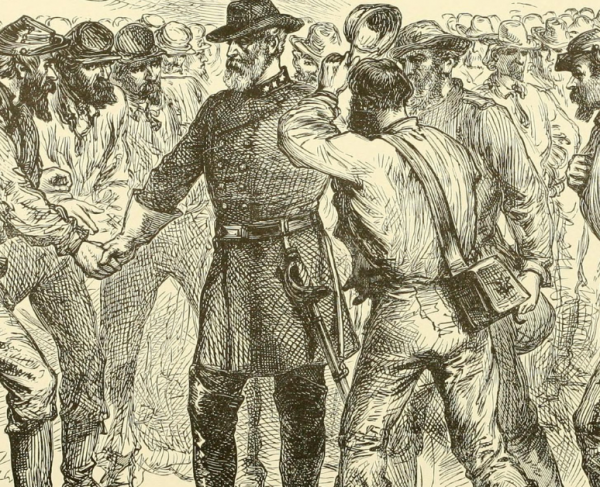 Drawing of a general surrounded by soldiers.