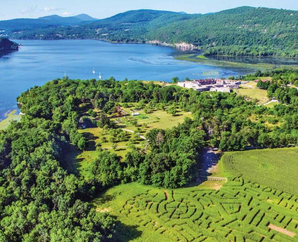 An aerial view of Fort Ticonderoga and Lake Champlain