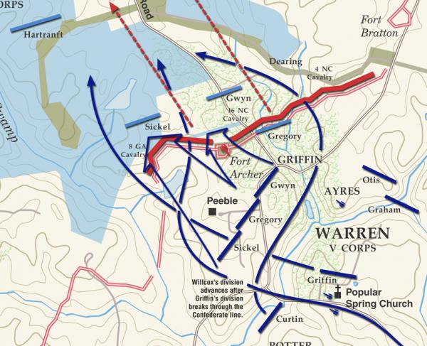 Peebles Farm - September 30, 1864 Battle Map