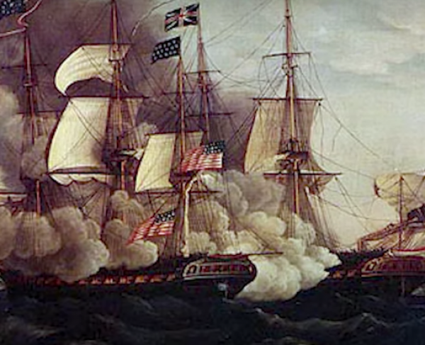 A painting of the USS Constitution on the water with billowing smoke