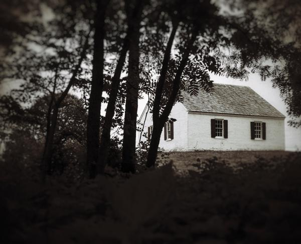 Antietam Battlefield: Black and White Photo of Dunker Church From West Woods
