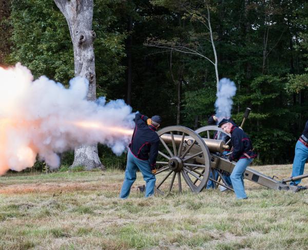 Ball's Bluff Anniversary 2018 Cannon Fire Side View