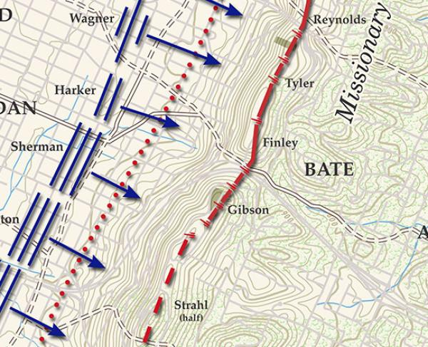 Chattanooga - Missionary Ridge - November 25, 1863 - 4pm Battle Map