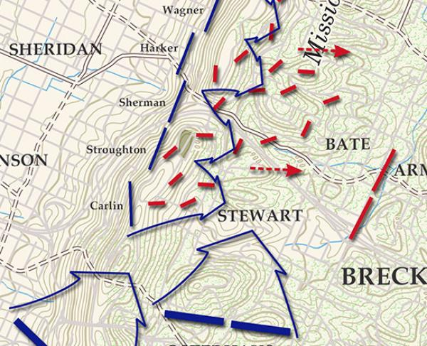 Chattanooga - Missionary Ridge - November 25, 1863 - 5pm Battle Map