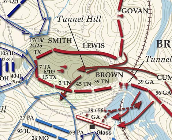 Chattanooga - The Fight For Tunnel Hill - November 25, 1863 Battle Map
