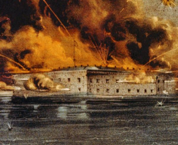 Painting of the Burning of Fort Sumter