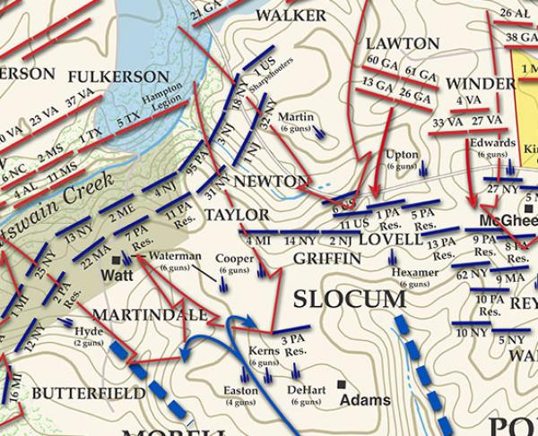 Gaines' Mill - June 27, 1862 - 7:00 to 8:00pm Battle Map