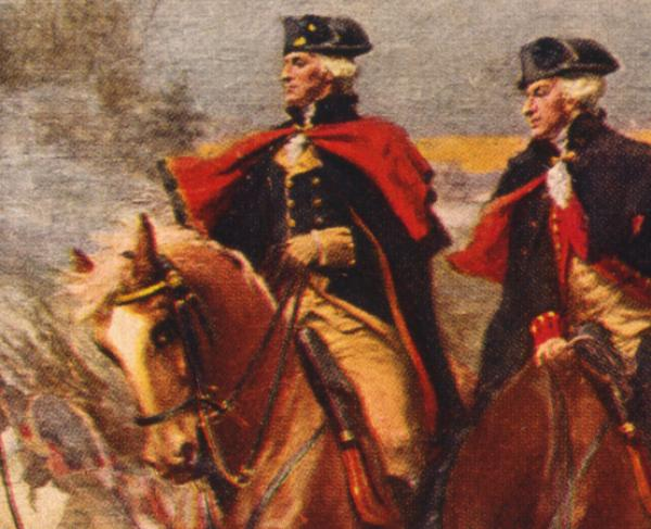 Washington and Lafayette at Valley Forge / painting by Dunsmore.