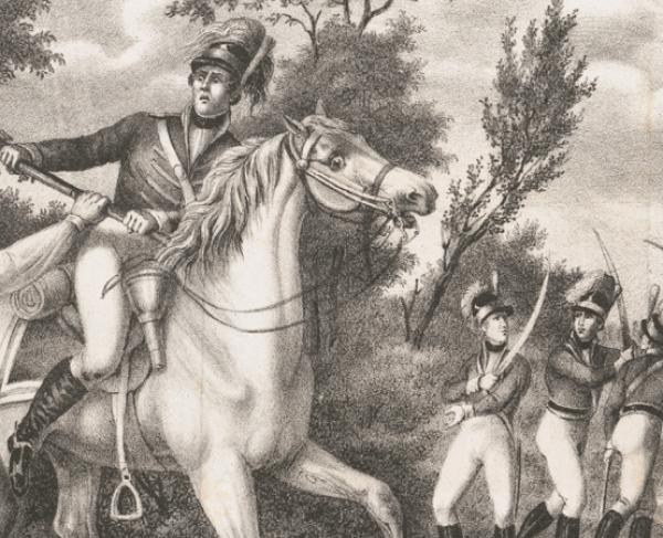 Peter Francisco's gallant action with nine of Tarleton's cavalry in sight of a troop of four hundred men