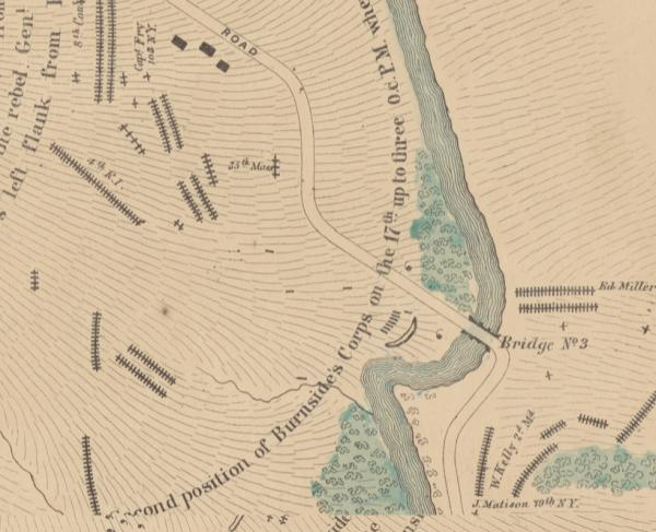 Elliotts map of the battlefield of Antietam segment