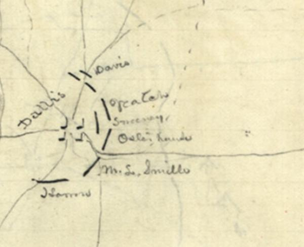 Union troop positions at Dallas and New Hope Church, Georgia, May 25-June 5, 1864