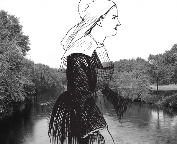 Silhouette of a woman in front of a river.