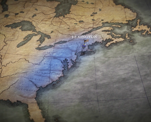 The Revolutionary War Animated Map Landscape and Square