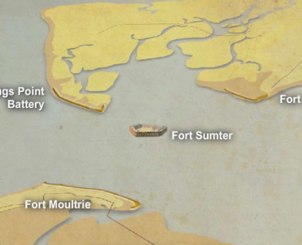Fort Sumter Animated Map Landscape and Square