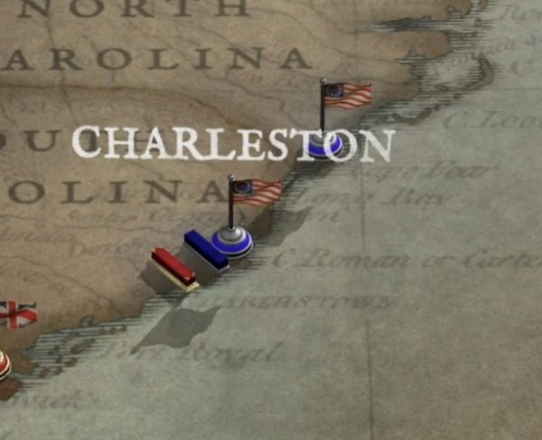 Southern campaign illustrated map focused on Charleston, SC
