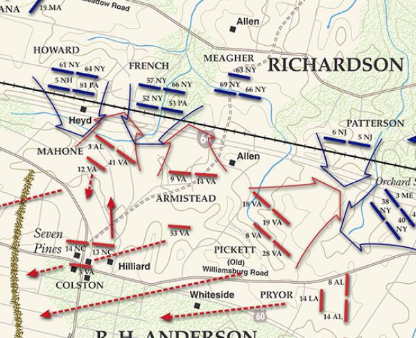 Seven Pines - June 1, 1862 Battle Map