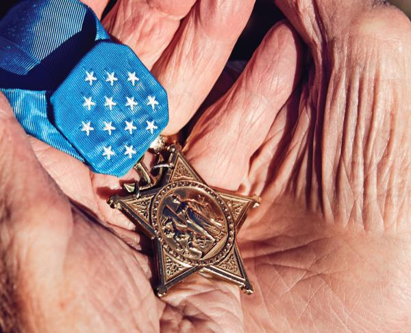 MOH Recipient Woody Williams Holds Medal of Honor Hero