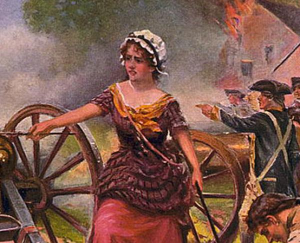 Painting of Molly Pitcher in the American Revolution