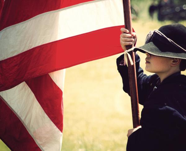 Boy With Flag Square