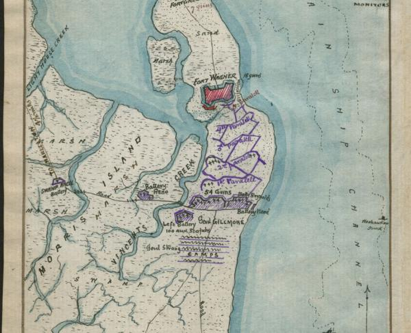 Plan of Genl Q. A. Gillmore's position on Morris Island, Charleston