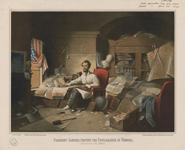 President Lincoln, writing the Proclamation of Freedom