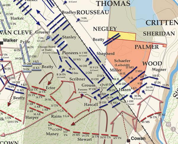 Stones River - December 31, 1862 - 1pm to 3:30pm Battle Map