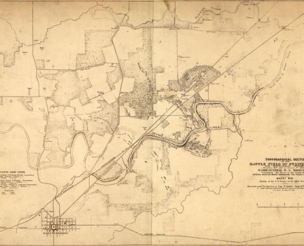 Topographical sketch of the battle field of Stone River near Murfreesboro, Tennessee, December 30th 1862 to January 3d 1863