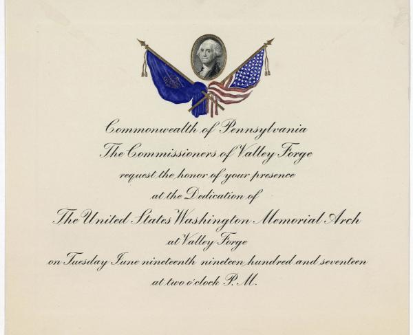 Invitation to Valley Forge Memorial Arch Dedication