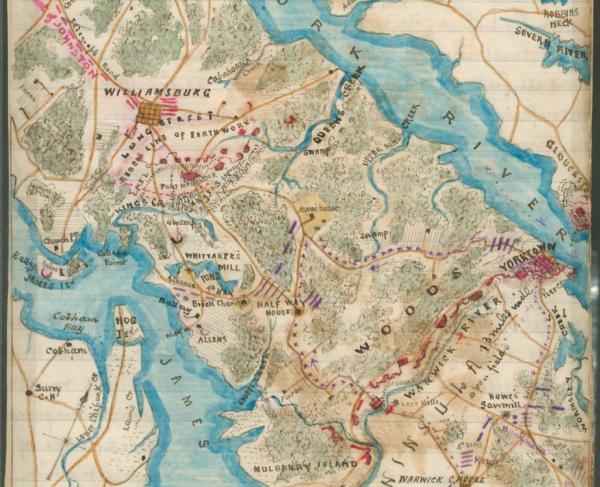Map of country between Yorktown and Williamsburg in Virginia