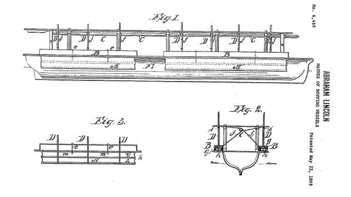 This image depicts Lincoln's patent sketches of buoying vessels.