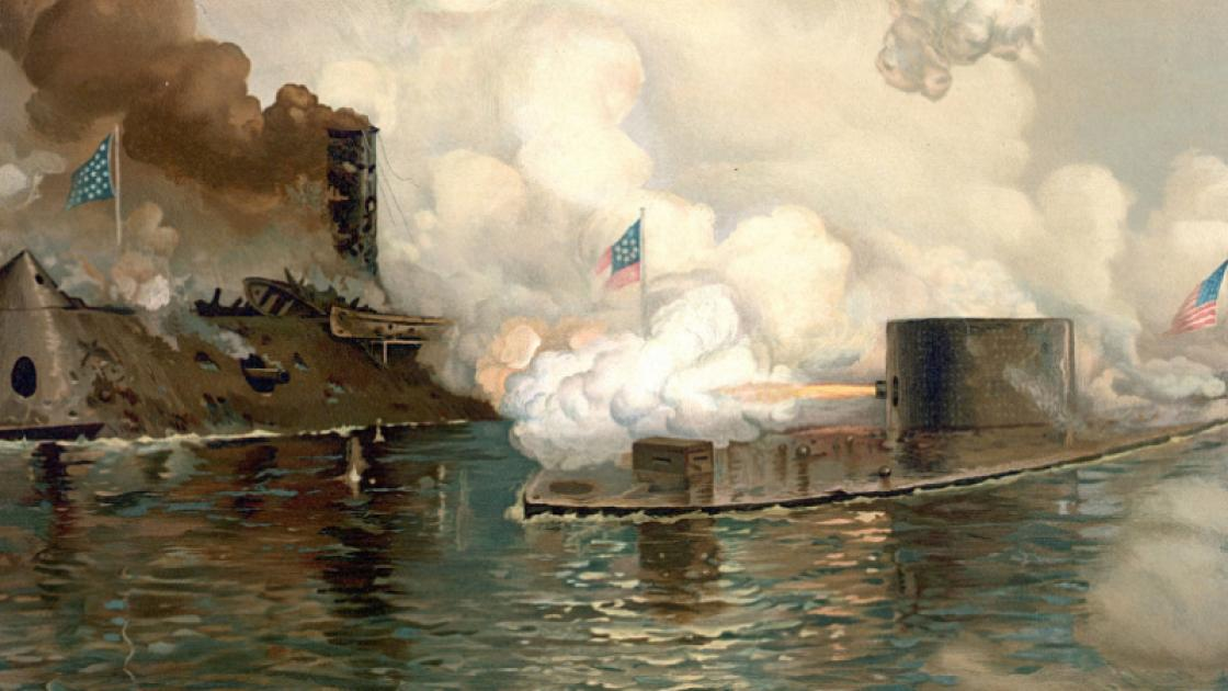 Painting of the CSS Virginia and USS Monitor