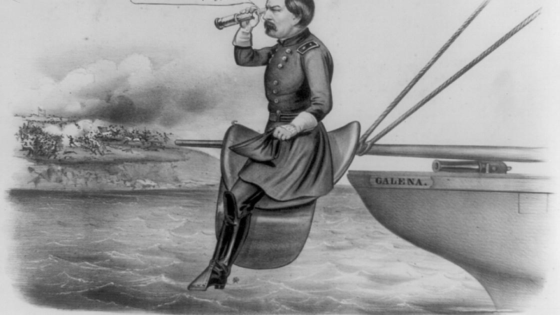 This image depicts a political cartoon mocking McClellan.