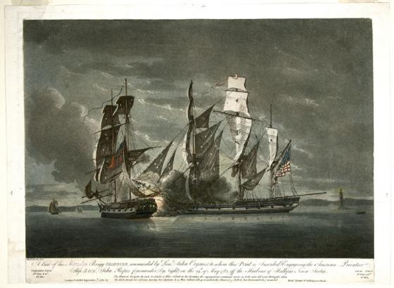 """A View of His Majesty's Brigg Observer, Commanded by Lieut. John Crymes (to whom this print is inscribed) Engaging the American Privateer Ship Jack, John Ropes (commander), by Night on the 29th of May 1782, Off the Harbour of Hallifax, Nova Scotia""""."""