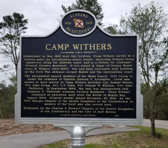 Camp Withers marker situated beside local bike trail in Gulf Shores, Alabama on Fort Morgan Road, close to PNC Bank.