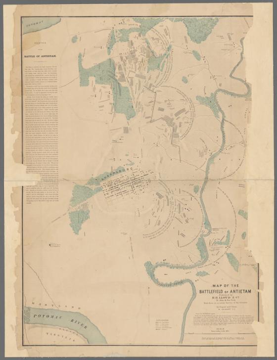 Elliotts map of the battlefield of Antietam