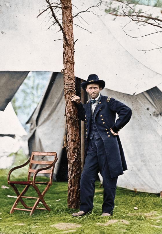 Colorized image of Ulysses S Grant at Cold Harbor