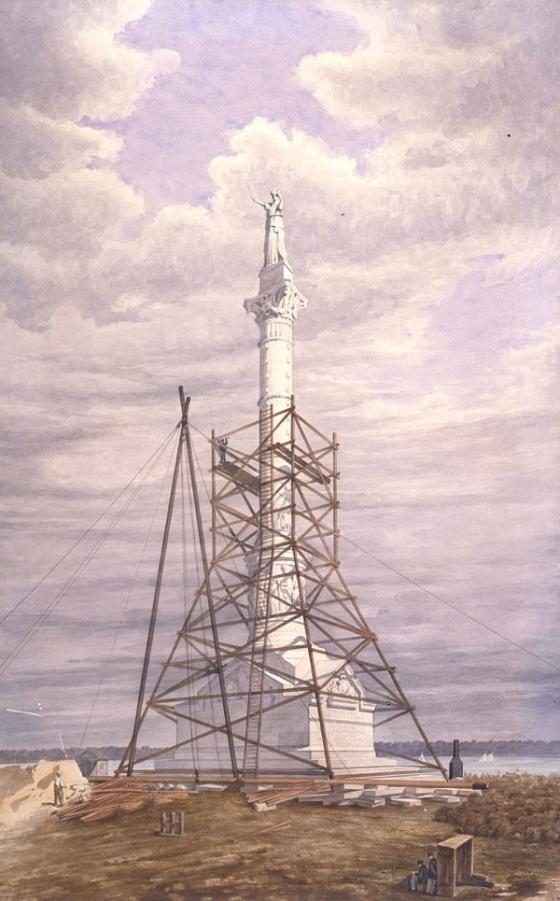 Drawing Showing Yorktown Monument Nearing Completion