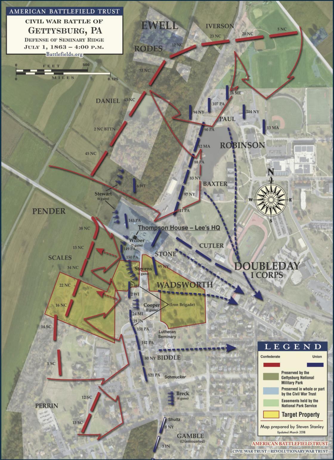 Gettysburg - Defense of Seminary Ridge, July 1, 1863 - 4:00 pm Satellite (May 2018)