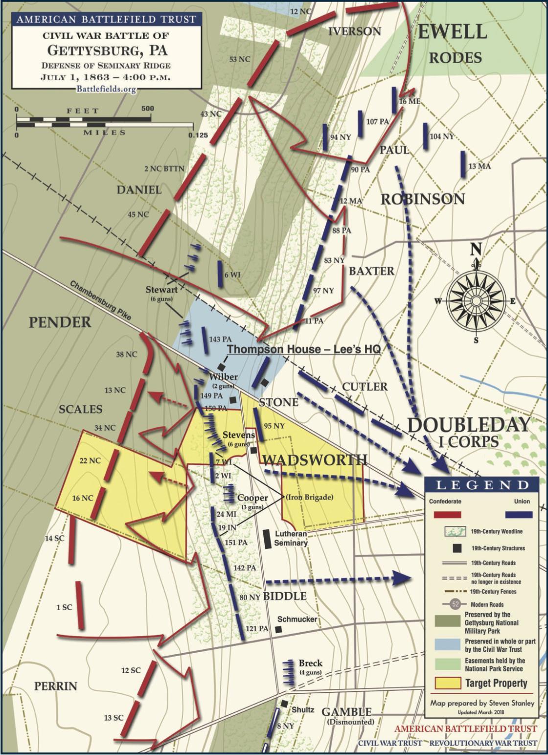 Gettysburg - Defense of Seminary Ridge, July 1, 1863 - 4:00 pm (May 2018)