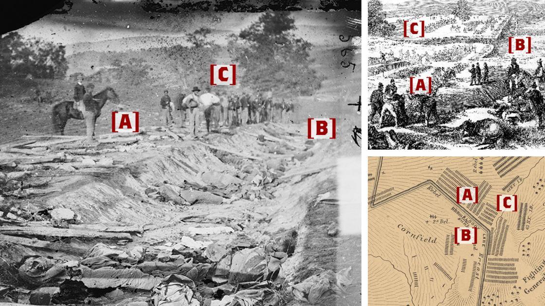 Antietam Sunken Road in Photos and Elliott Map