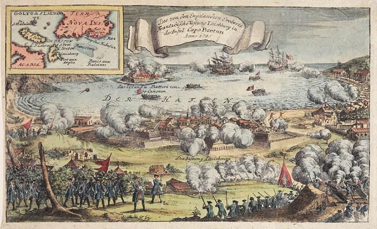 Attack on Fort Louisbourg in 1745 during King George's War.jpg