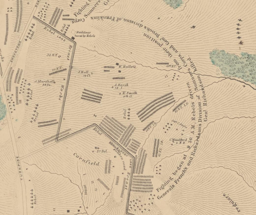 Bloody Lane Sector-Elliott Antietam Burial Map