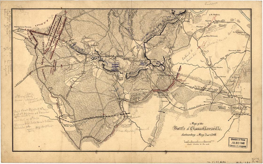 Chancellorsville Map by Jedediah Hotchkiss