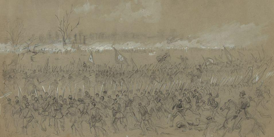 Fifth Corps Attack at Five Forks - Waud