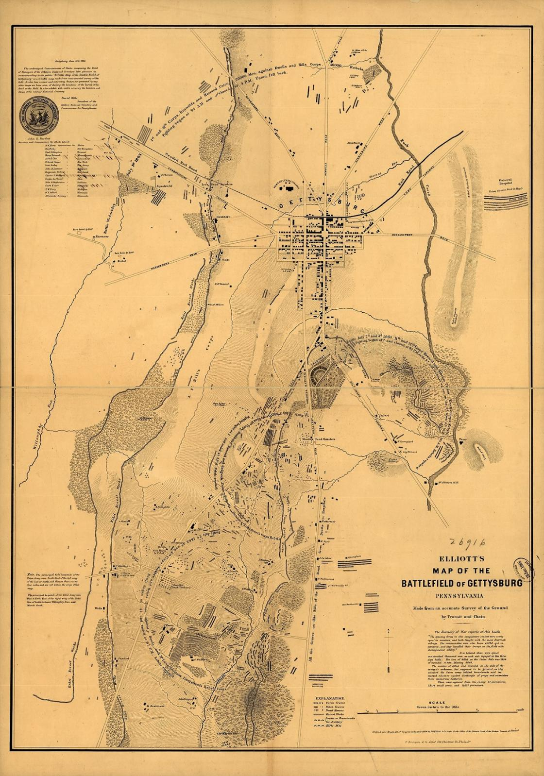Gettysburg Elliott Burial Map