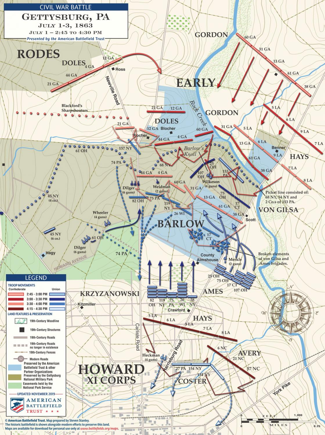 Gettysburg - Fight for Barlow's Knoll - July 1, 1863 - 2:45pm to 4:30pm (November 2019)
