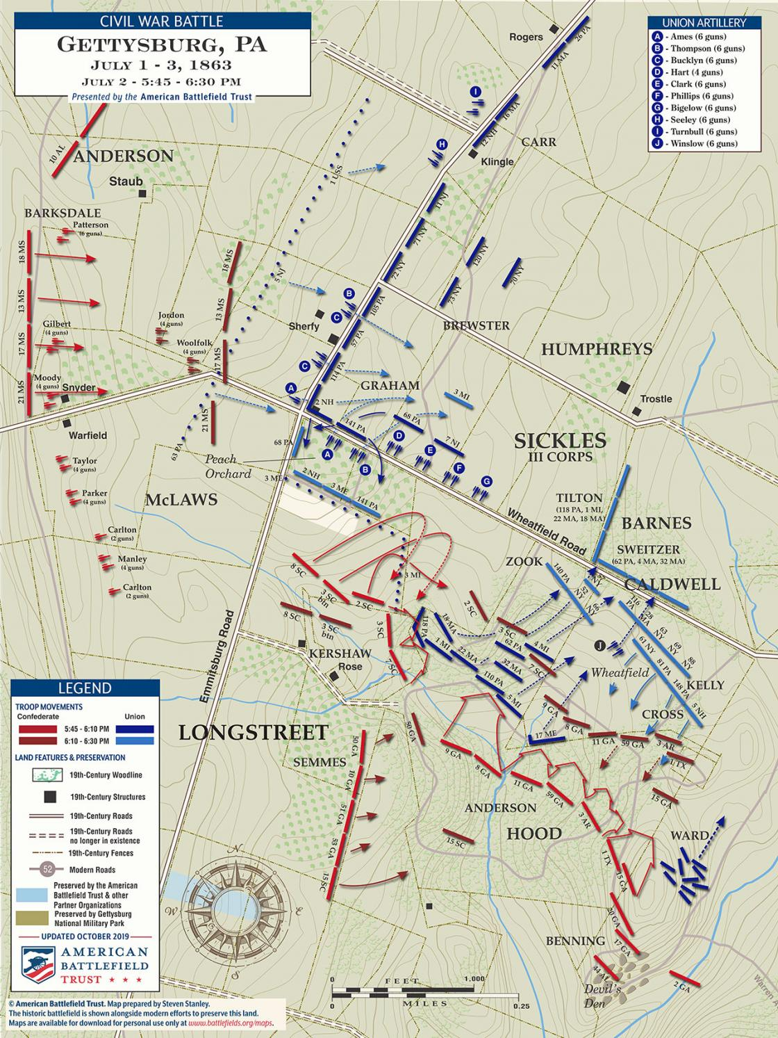 Gettysburg - The Wheatfield and Peach Orchard - July 2, 1863 - 5:45pm to 6:30pm (October 2019)